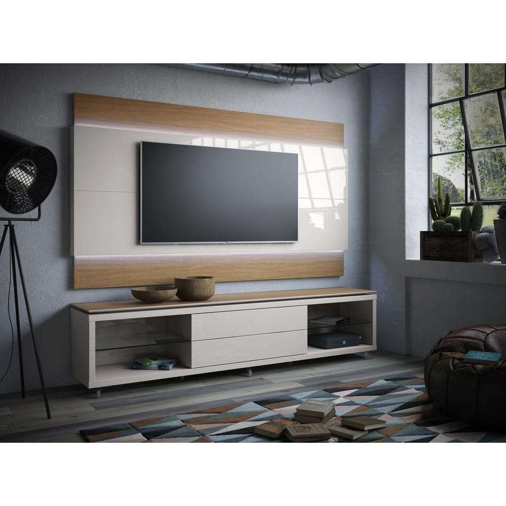 Manhattan Comfort Lincoln White Gloss Storage Entertainment Center With Cream Color Tv Stands (View 11 of 15)