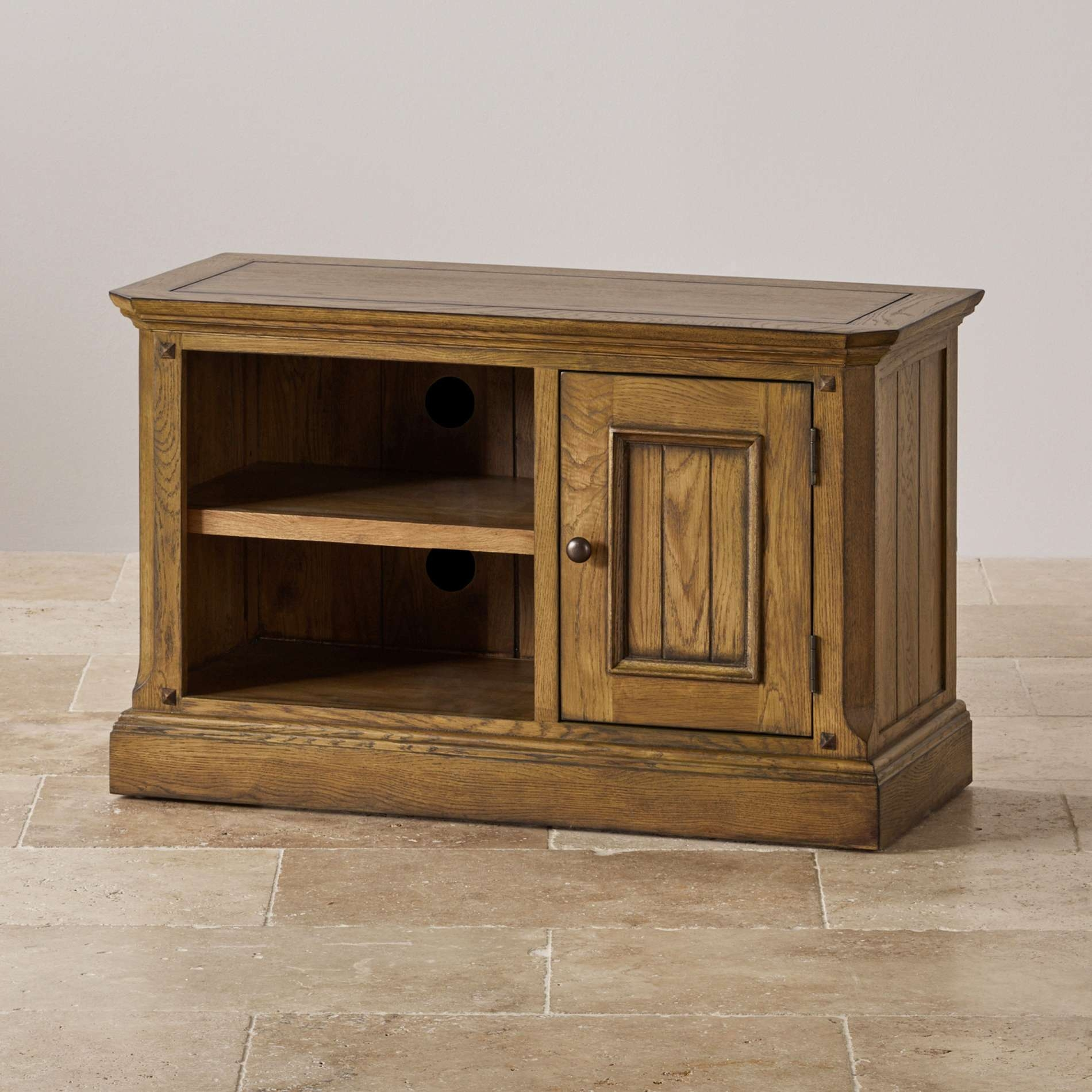 Manor House Small Tv Unit In Solid Oak | Oak Furniture Land For Small Oak Tv Cabinets (View 9 of 20)