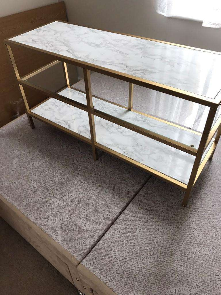 Marble And Gold Customised Tv Stand / Media Unit Ikea | In With Gold Tv Stands (View 2 of 20)