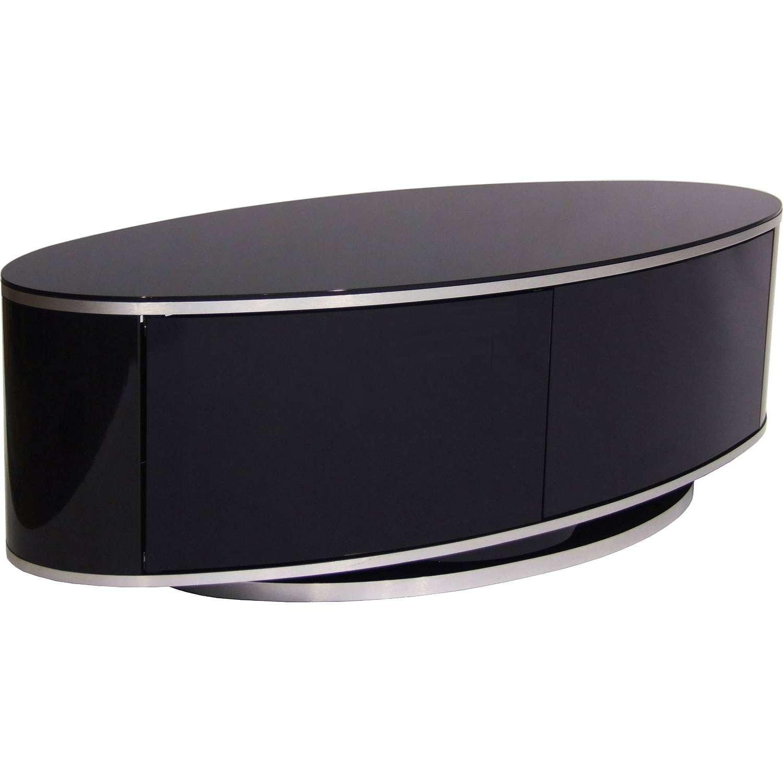 "Mda Designs Luna Av High Gloss Black Oval Tv Cabinet Up To 55"" Tvs Inside White Gloss Oval Tv Stands (View 12 of 20)"
