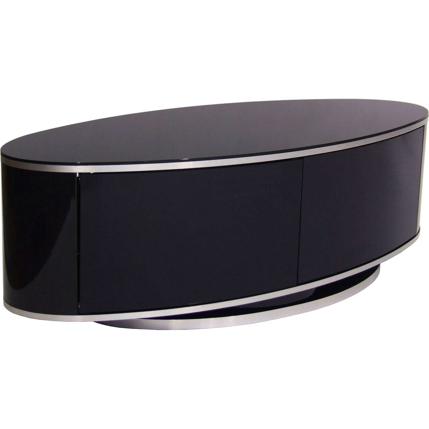 "Mda Designs Luna Av High Gloss Black Oval Tv Cabinet Up To 55"" Tvs With White Gloss Oval Tv Stands (View 5 of 15)"