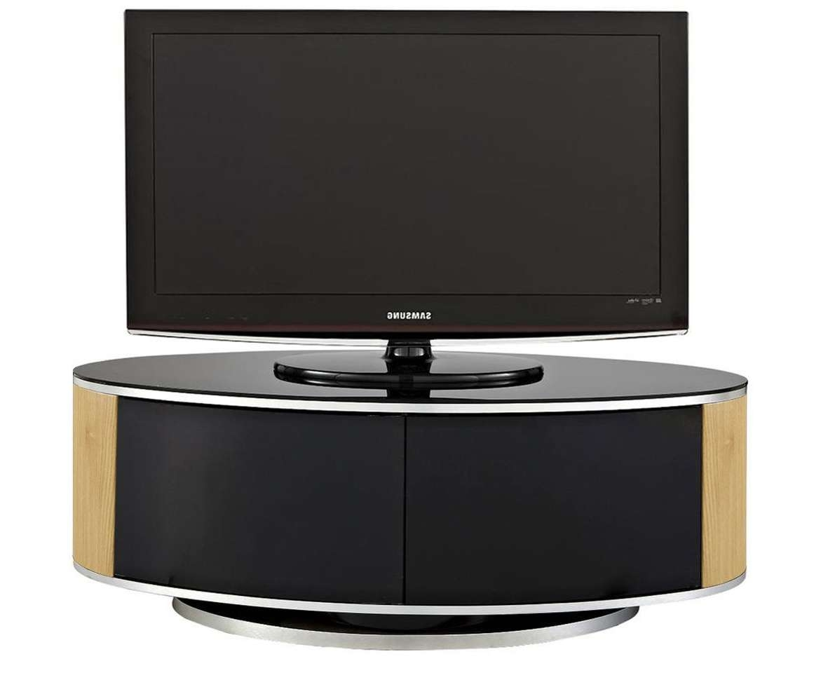 Mda Luna High Gloss Black & Oak Oval Tv Cabinet For Oval Tv Stands (View 16 of 20)