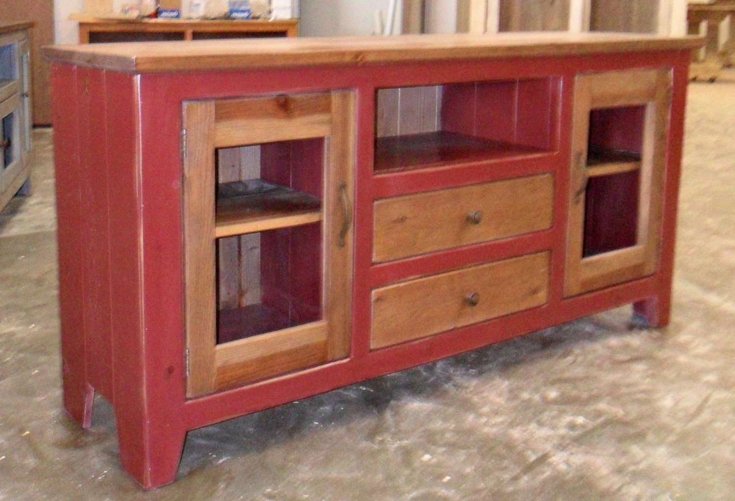 Media Cabinet Reclaimed Wood Tv Stand Rustic Vintage Intended For Red Tv Cabinets (View 5 of 20)