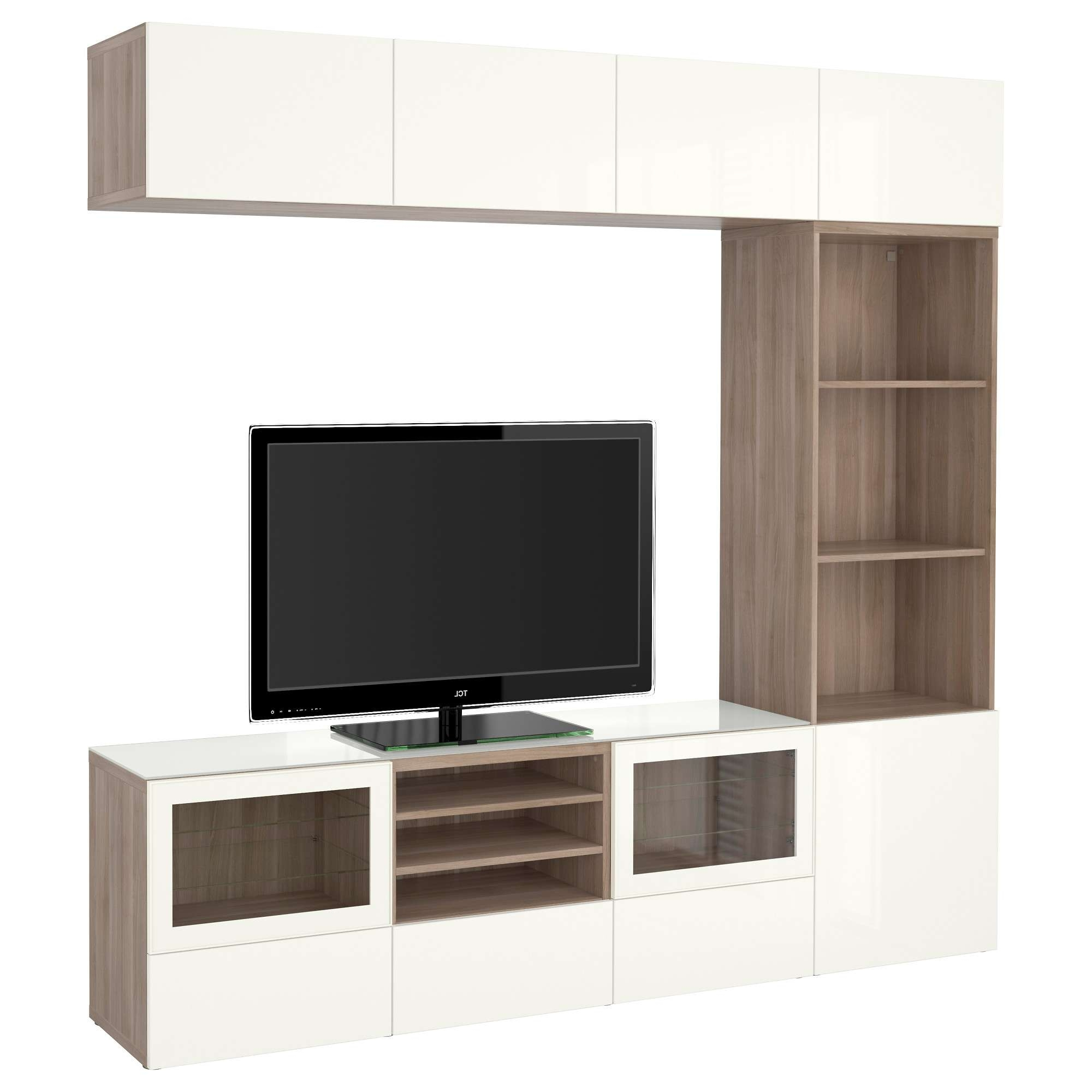Media Cabinet With Doors Ikea Tv Storage Combinationglass Walnut Inside Oak Tv Stands With Glass Doors (View 8 of 15)