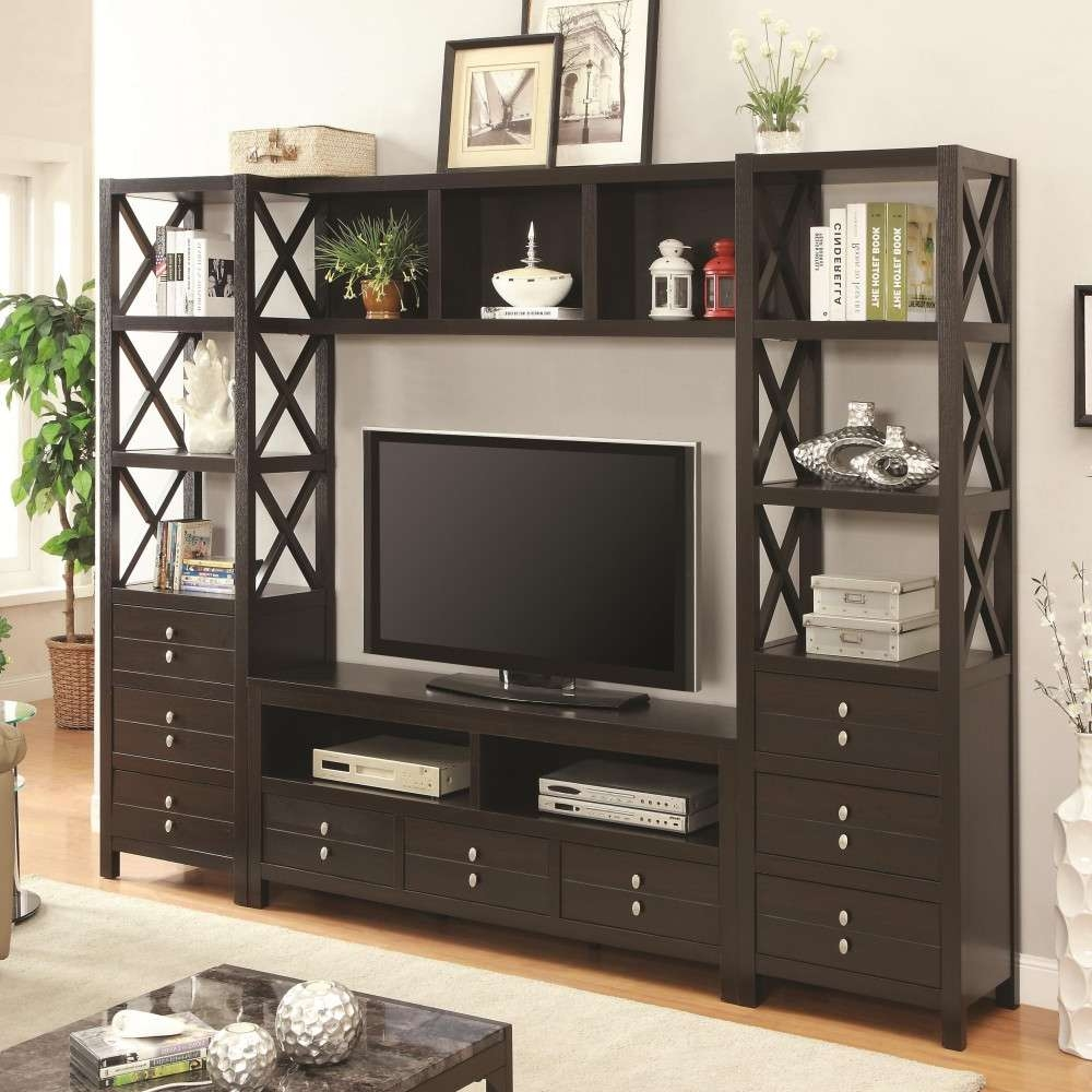 Media Tower For Tv Stands With 3 Drawers And 3 Shelves/bookshelf With Bookshelf And Tv Stands (View 5 of 15)