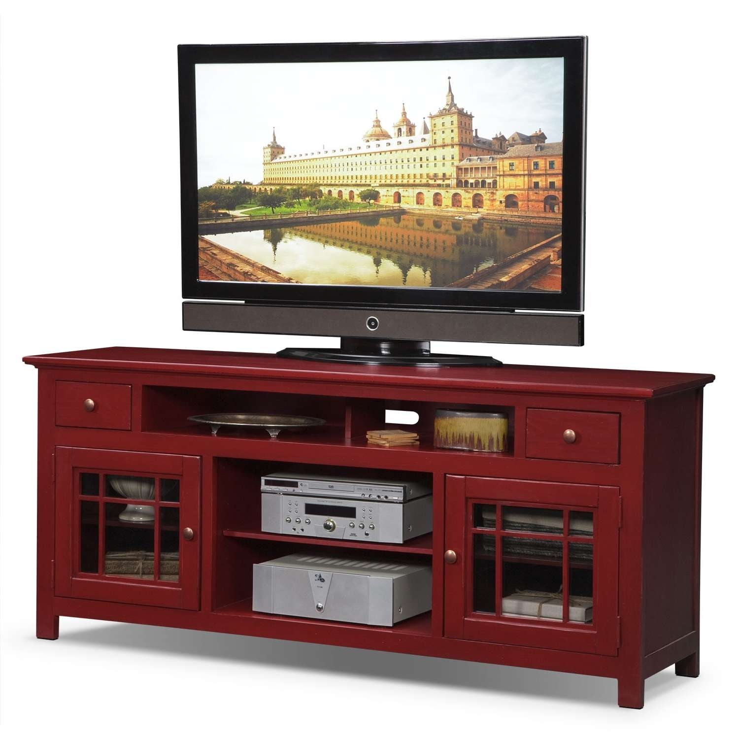 "Merrick 74"" Tv Stand – Red 