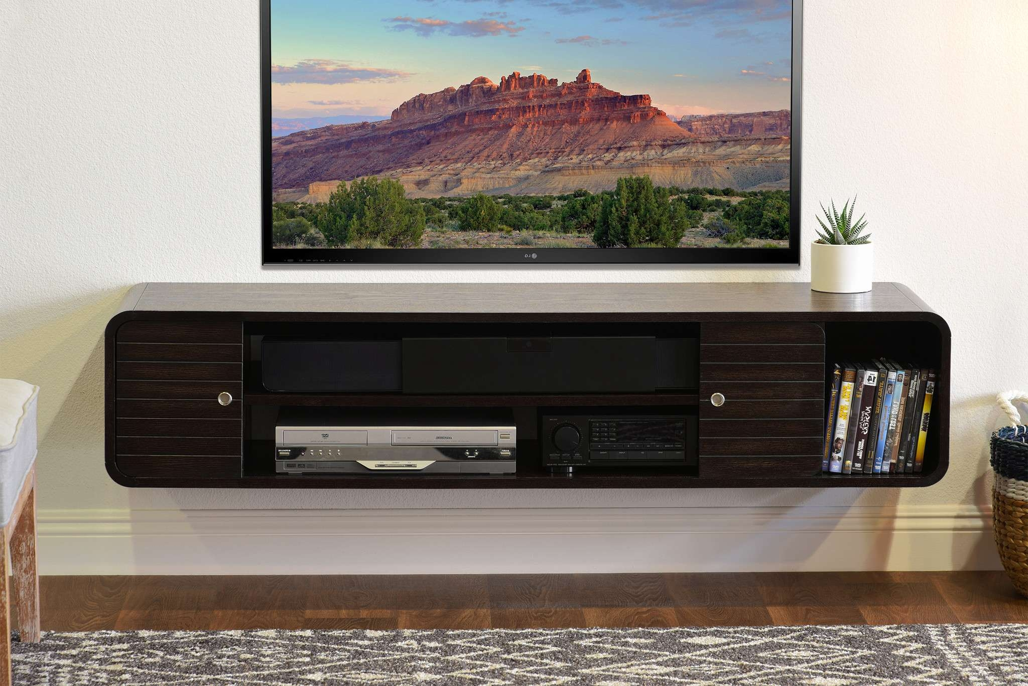 Mesmerizing Cabinet Black Espresso Floating Tv Stand With Floating Regarding Round Tv Stands (View 5 of 15)