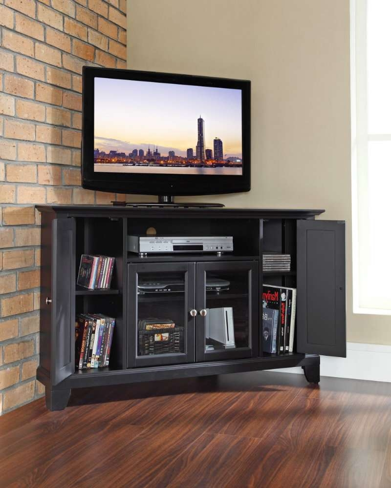 Mesmerizing Corner Tv Stand Furniture Set Tv Stand Corner Unit Inside Black Corner Tv Cabinets With Glass Doors (View 9 of 20)