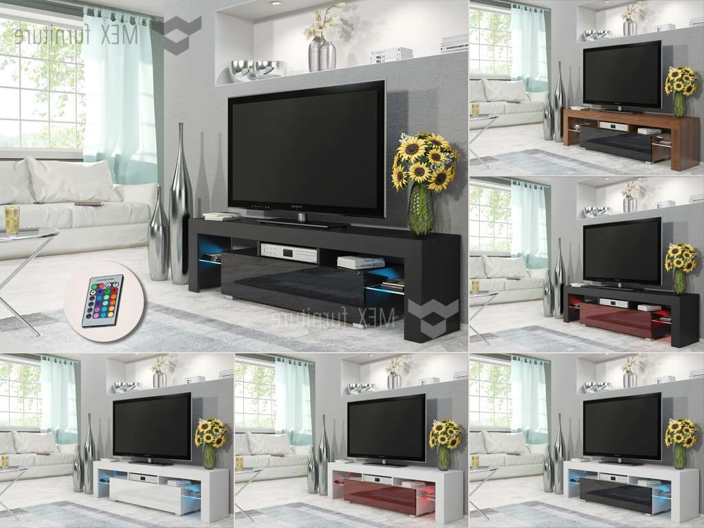 Mex Furniture » Modern Tv Unit [014], 2 Glass Shelves With Regarding Milano Tv Stands (View 7 of 20)