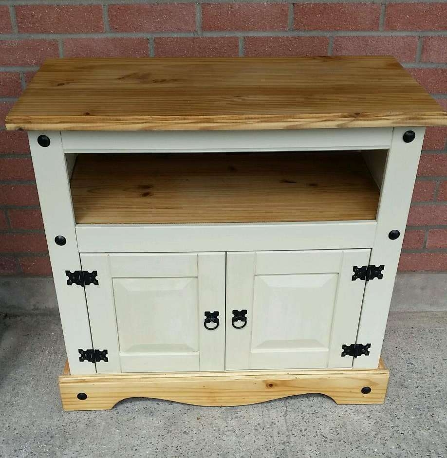 Mexican Pine Tv Cabinet In Hemp Beige Chalk Paint Shabby Chic | In Regarding Pine Tv Cabinets (View 10 of 20)