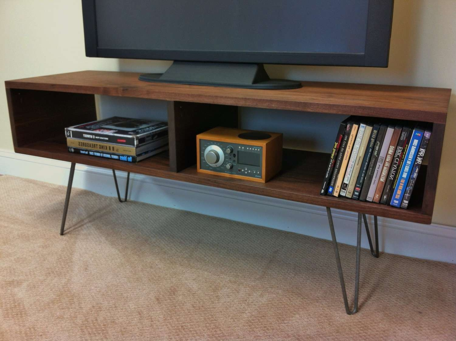 Mid Century Modern Media Console Credenza Tv Stand Vintage Intended For Hairpin Leg Tv Stands (View 10 of 15)