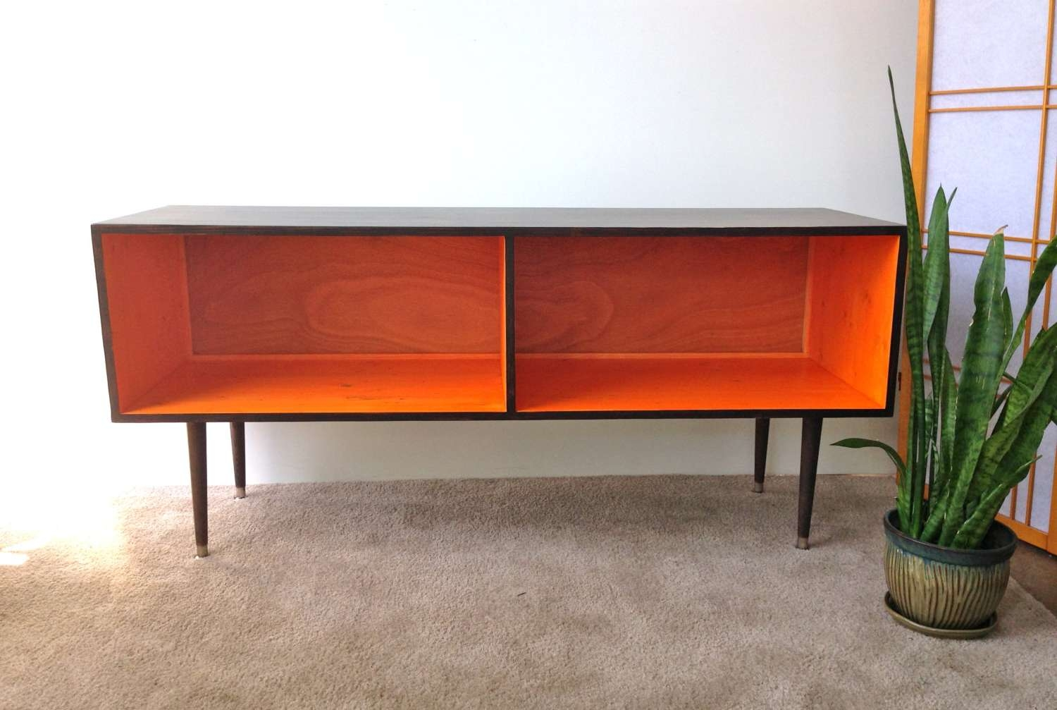 Mid Century Modern Record Player Cabinet Media Table Tv Stand Pertaining To Orange Tv Stands (View 2 of 15)