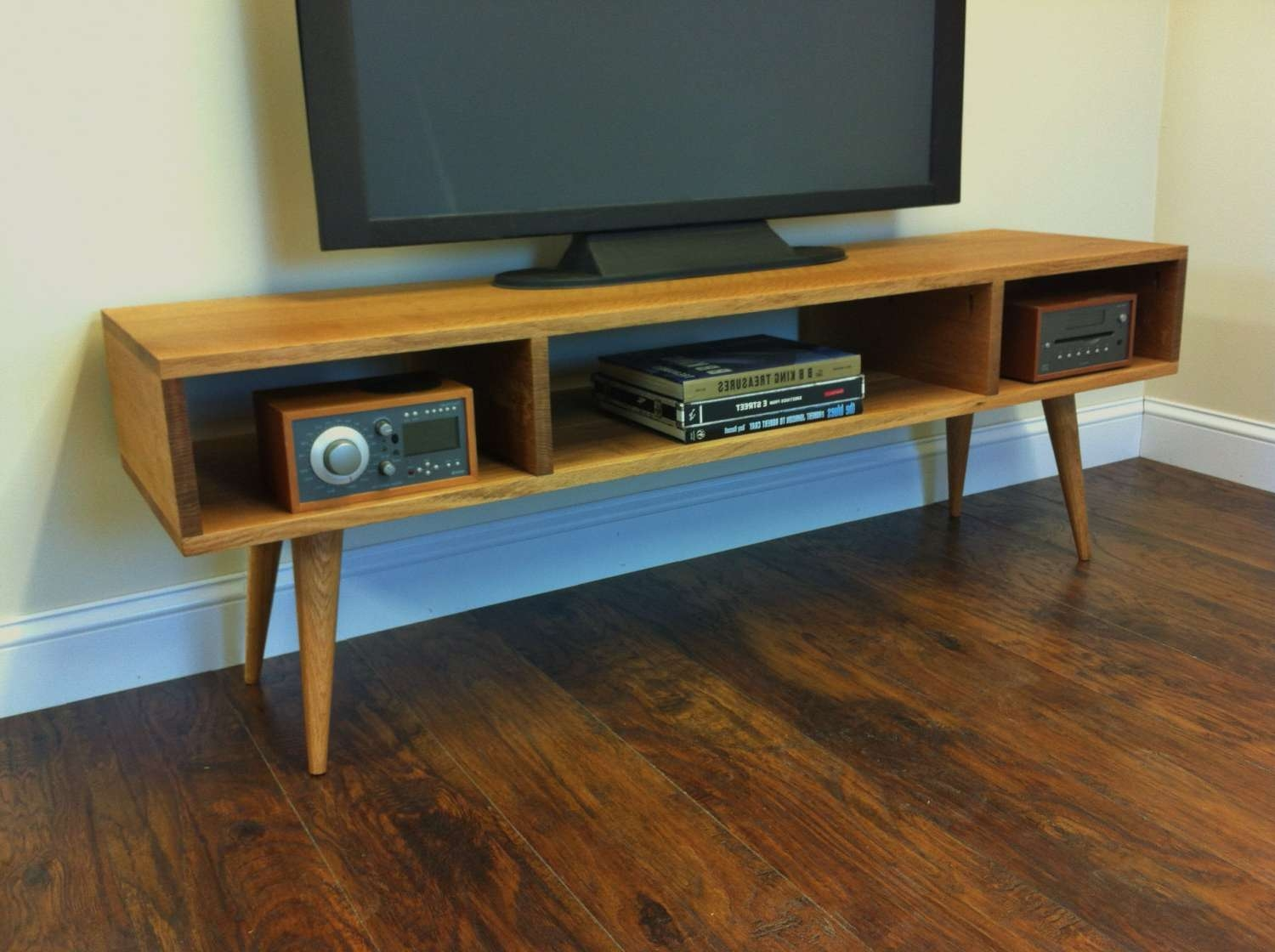 Mid Century Modern Tv Stand Media Console With Open Storage Intended For Long Low Tv Stands (View 8 of 15)