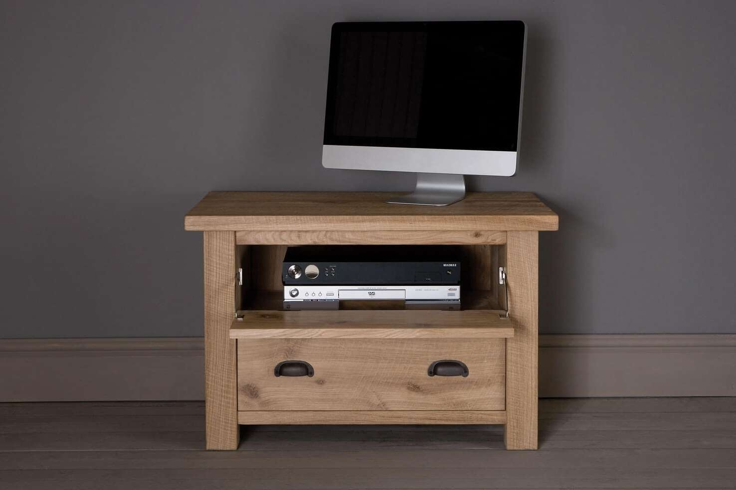 Midi Oak Drop Down Tv Cabinetindigo Furniture Within Small Oak Tv Cabinets (View 8 of 20)