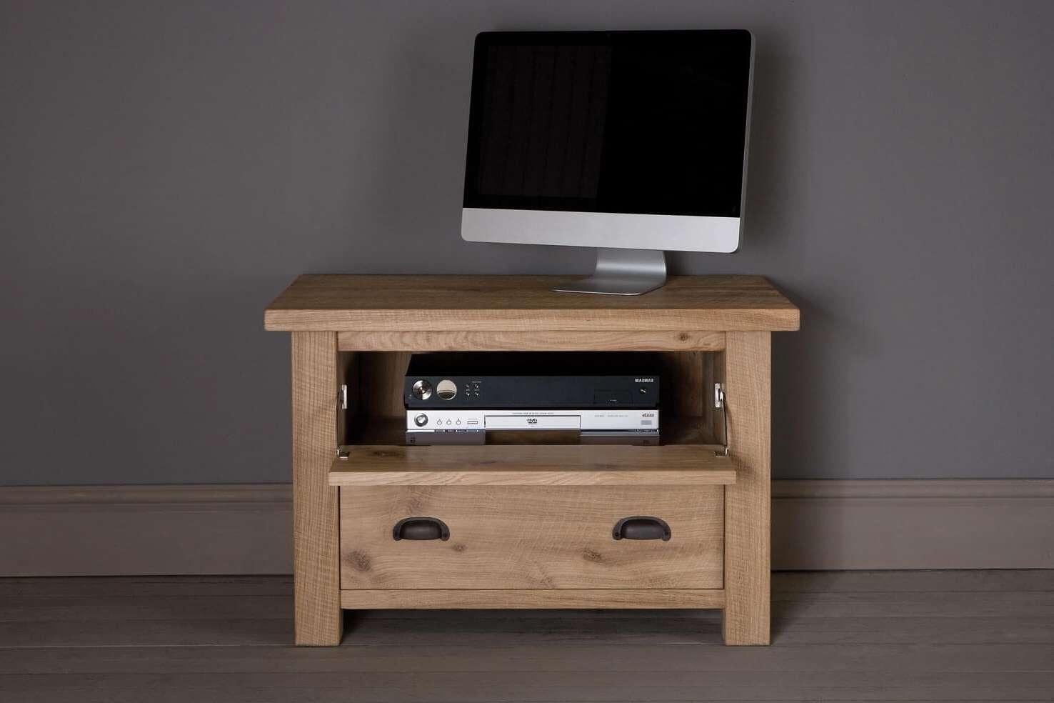 Midi Oak Drop Down Tv Cabinetindigo Furniture Within Small Oak Tv Cabinets (View 11 of 20)
