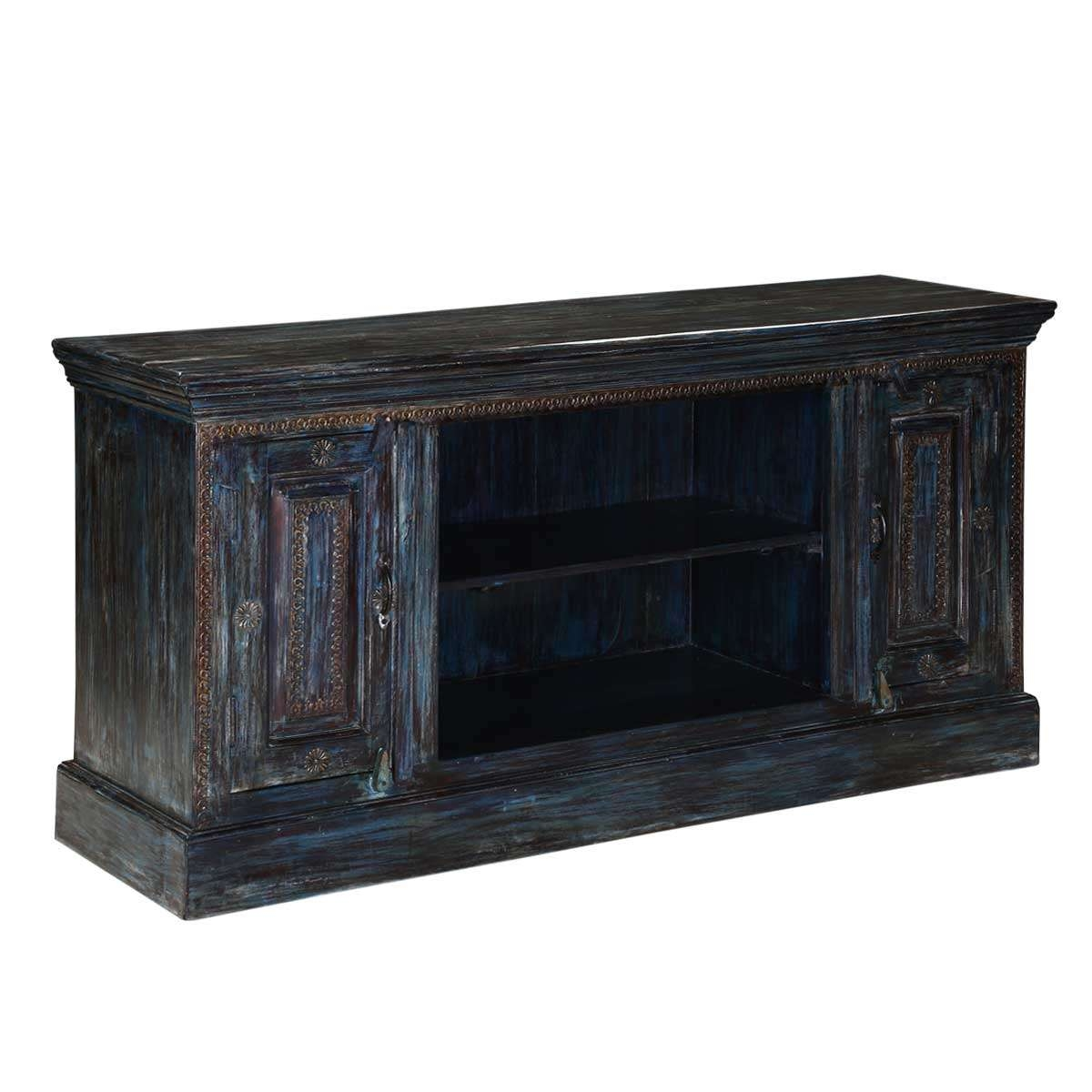 Midnight Reclaimed Wood Rustic Tv Stand Media Cabinet Inside Rustic Tv Stands (View 11 of 20)