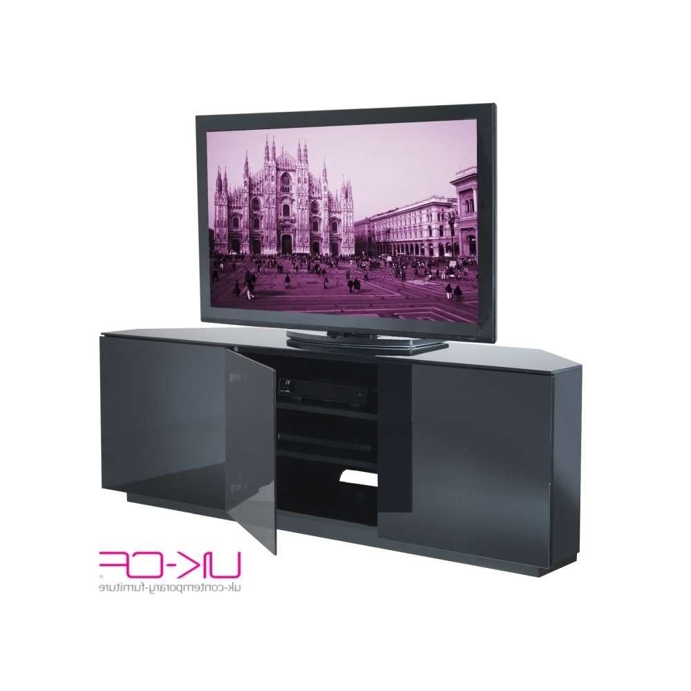 Milan Black Gloss Corner T.v Stand | Allans Furniture Warehouse With Regard To Black Gloss Corner Tv Stands (Gallery 12 of 15)