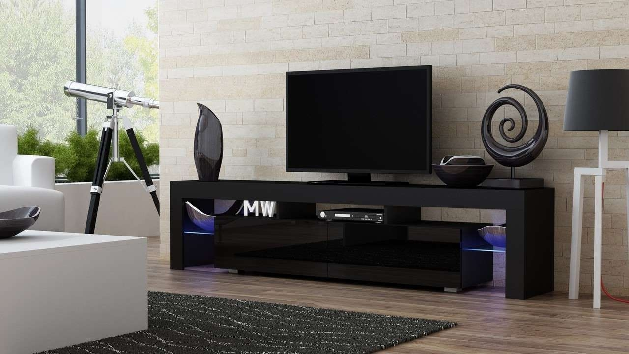 Milano 200 Black Modern Tv Stand – Tv Units – Living Room Ideaforhome Pertaining To Black Modern Tv Stands (View 8 of 15)