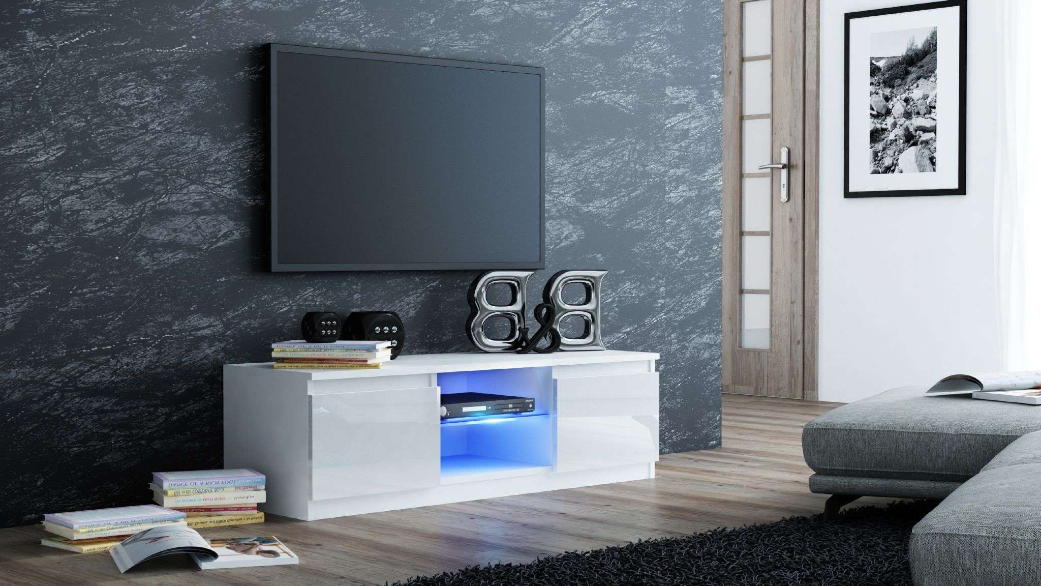 Milano Designer High Gloss Led Tv Stand Cabinet Black, White (View 14 of 20)
