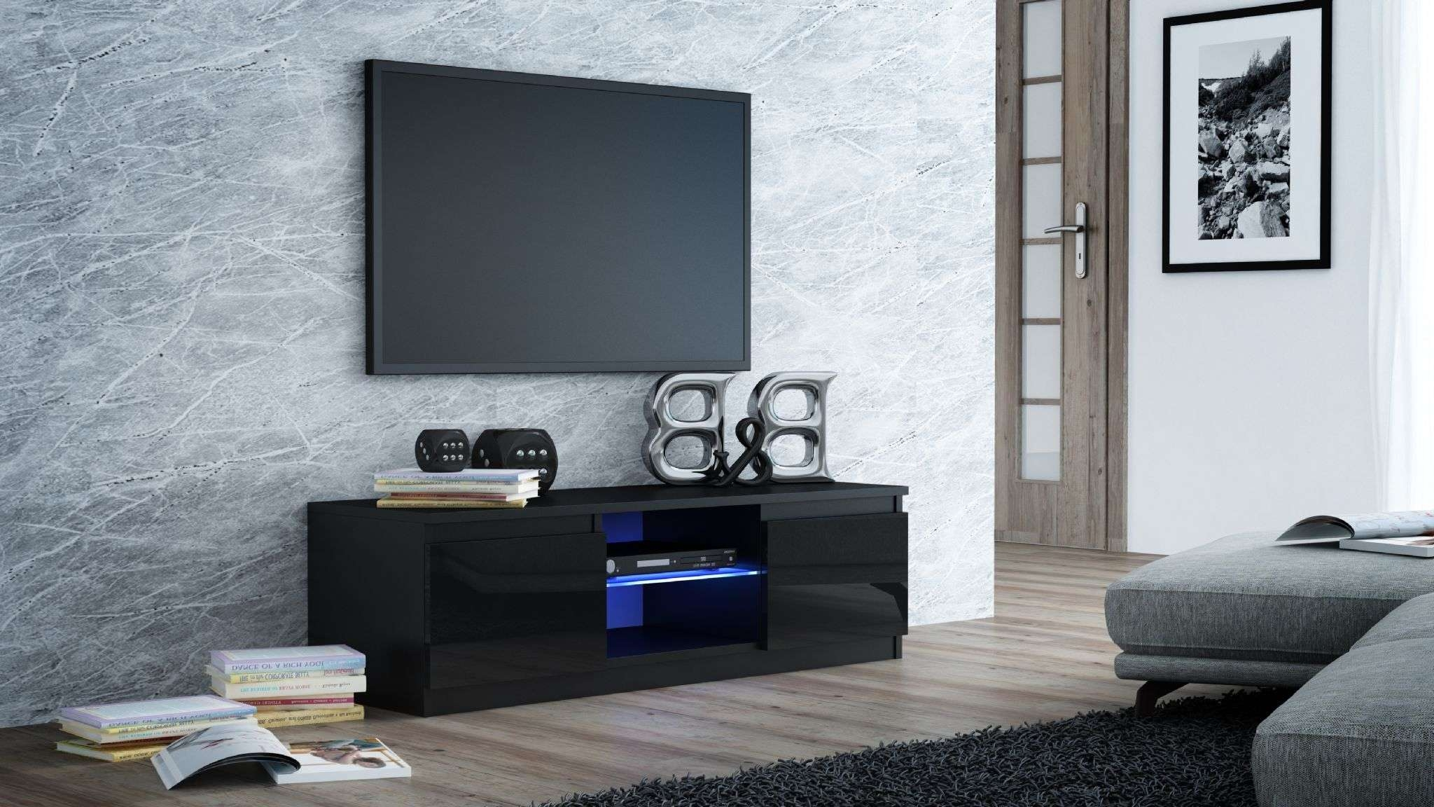 Milano Designer High Gloss Led Tv Stand Cabinet Black, White (View 10 of 20)