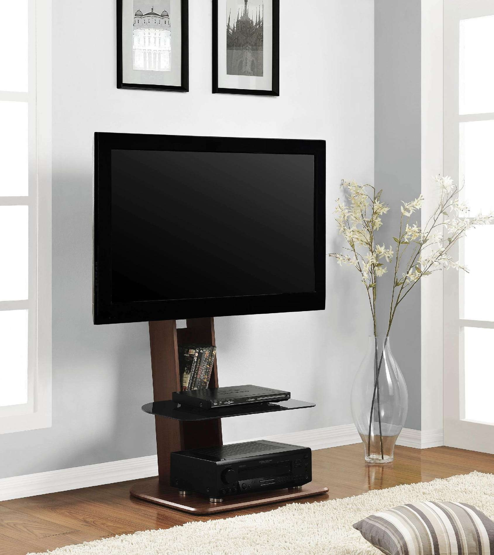 Minimalist Brown Walnut Wood Flat Screen Tv Stand With Black Intended For Acrylic Tv Stands (View 8 of 15)