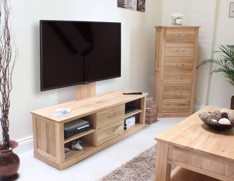Mobel Oak Mounted Widescreen Television Cabinet – Azura Home Style Inside Light Oak Tv Stands Flat Screen (View 8 of 15)