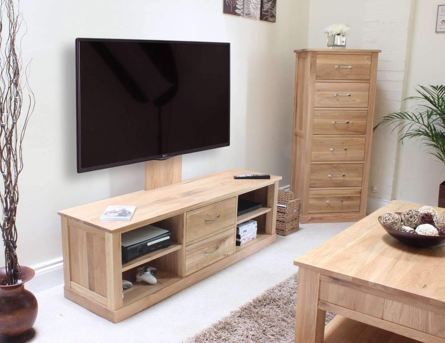Mobel Oak Mounted Widescreen Television Cabinet – Azura Home Style Throughout Light Oak Tv Stands Flat Screen (View 6 of 15)