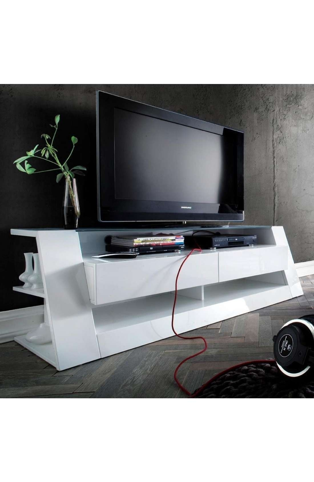 Modanuvo 'front Ii' White Gloss Tv Unit With Drawers And Glass Top Throughout White Gloss Tv Cabinets (View 19 of 20)