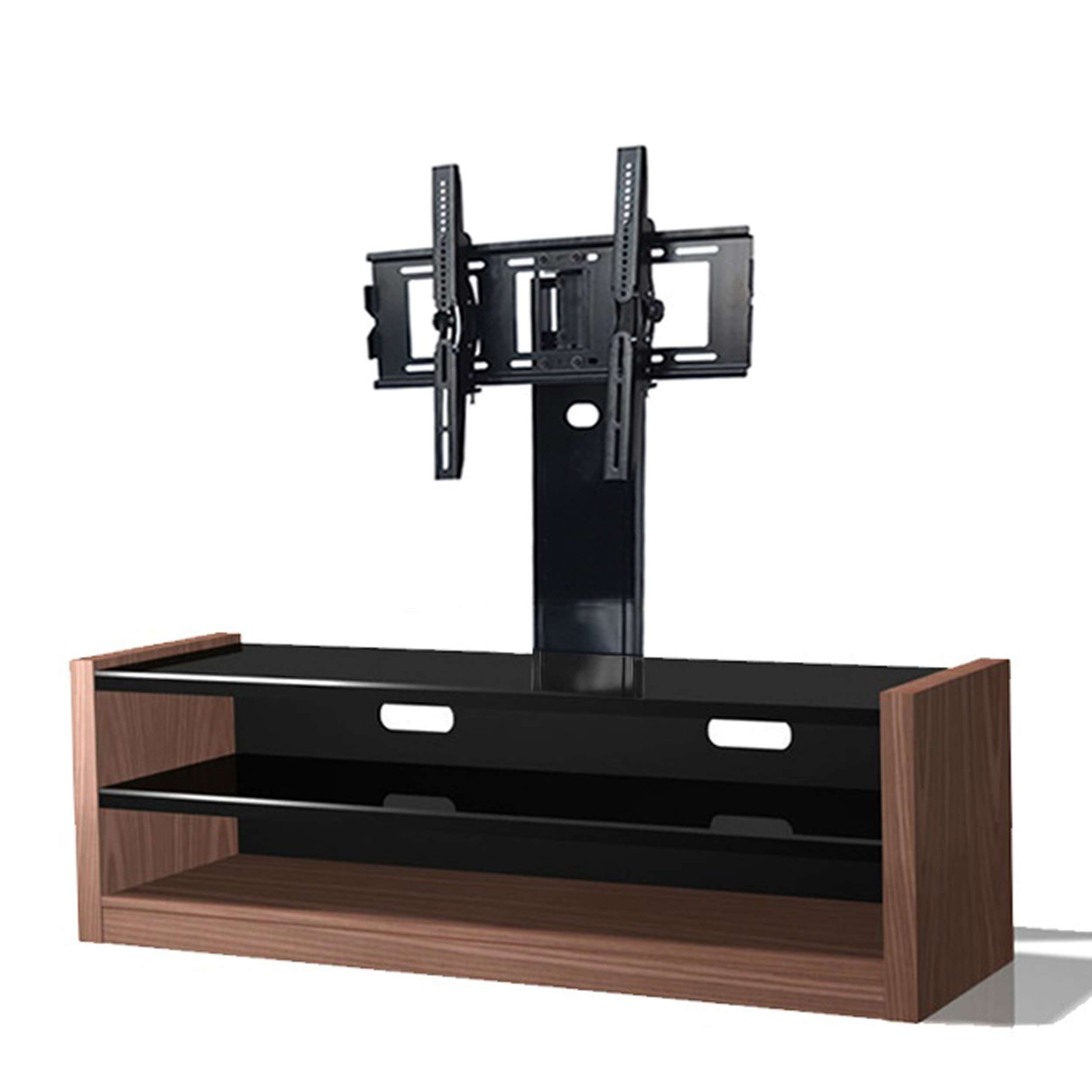 Modern Black And Brown Media Console With Walnut Wood Base Of Throughout Wood Tv Stands With Swivel Mount (View 7 of 15)
