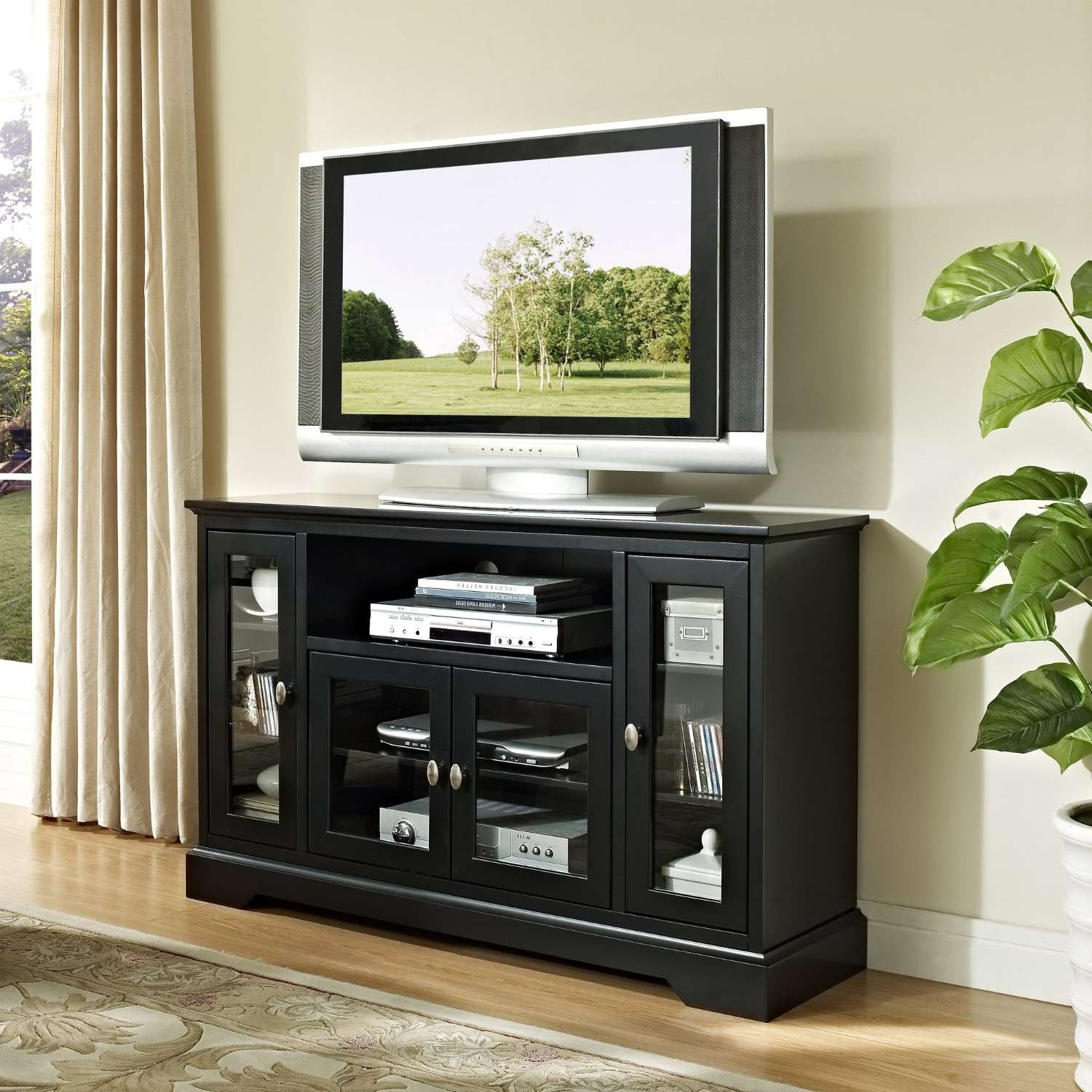 Modern Black Painted Mahogany Wood Media Stand With Glass Doors Of Regarding Wood And Glass Tv Stands For Flat Screens (View 6 of 20)