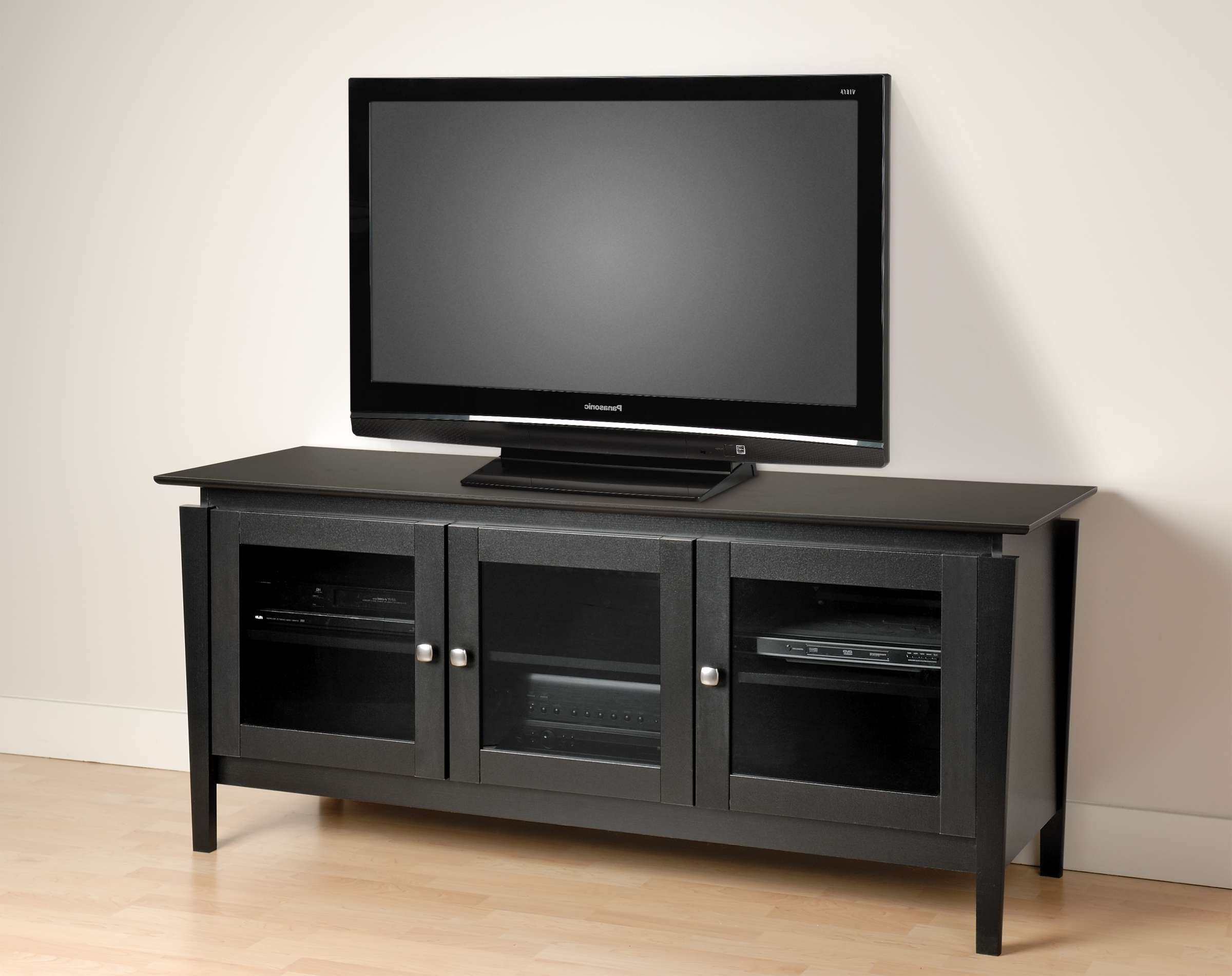 Modern Black Stained Oak Wood Media Cabinet With Glass Doors Of Pertaining To Wooden Tv Cabinets With Glass Doors (View 11 of 20)