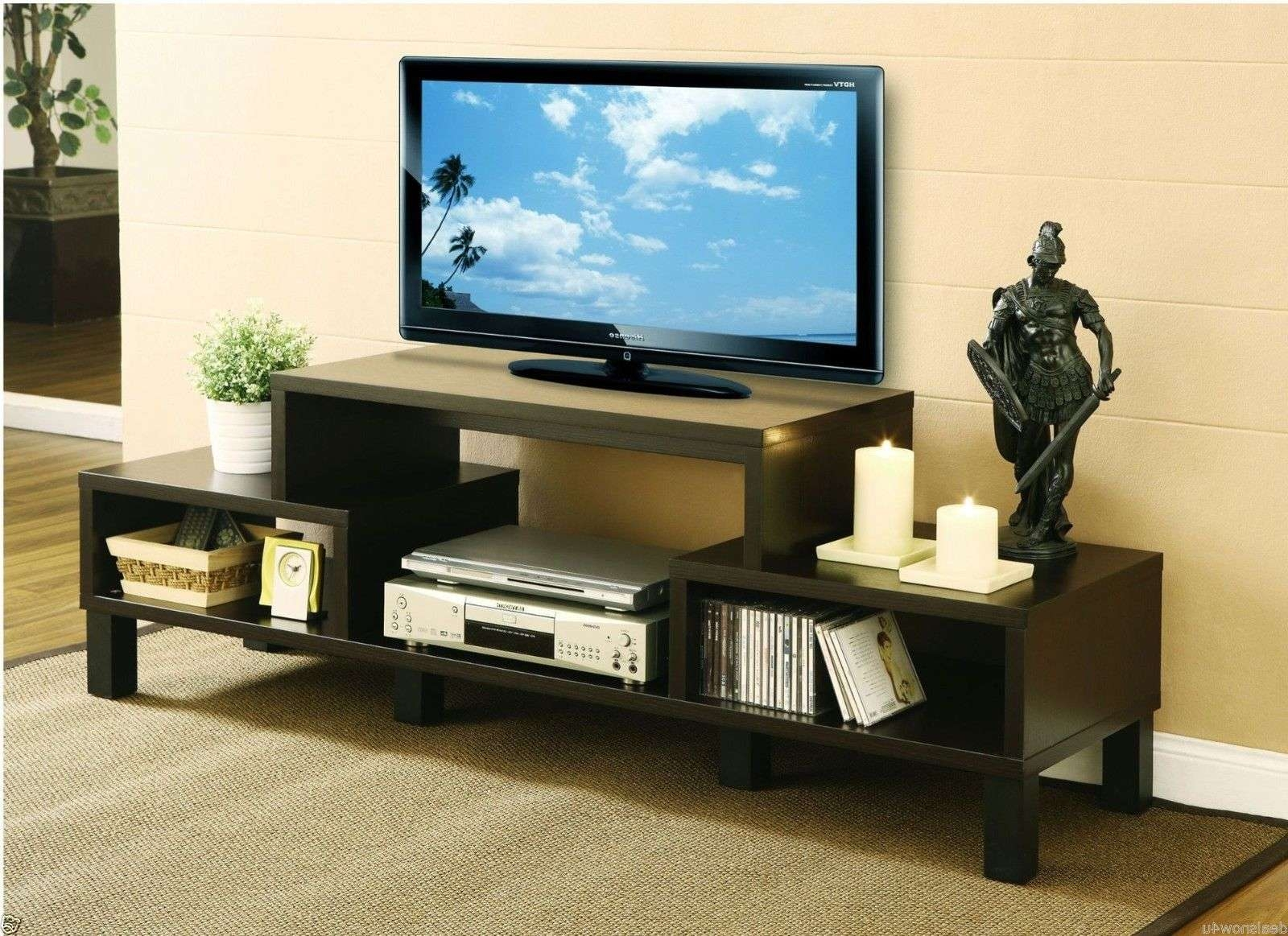 Modern Black Tone Wide Screen Tv Stand With Display Shelves And With Regard To Open Shelf Tv Stands (View 7 of 15)