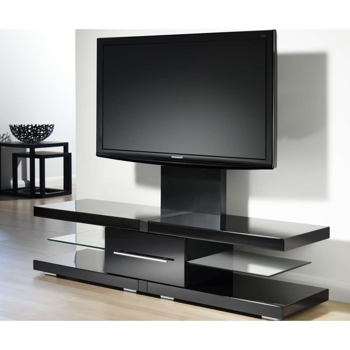Modern Glossy Black Flat Screen Tv Stand With Mount And Glass Regarding Tv Stands With Mount (View 11 of 15)