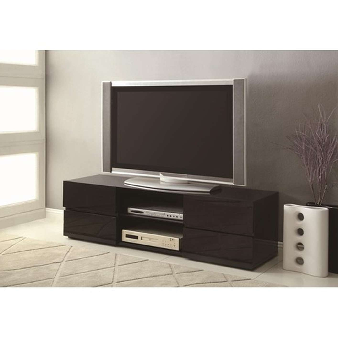 Modern Glossy Black Painted Solid Wood Tv Stand With 4 Drawers Inside Solid Wood Black Tv Stands (View 9 of 15)