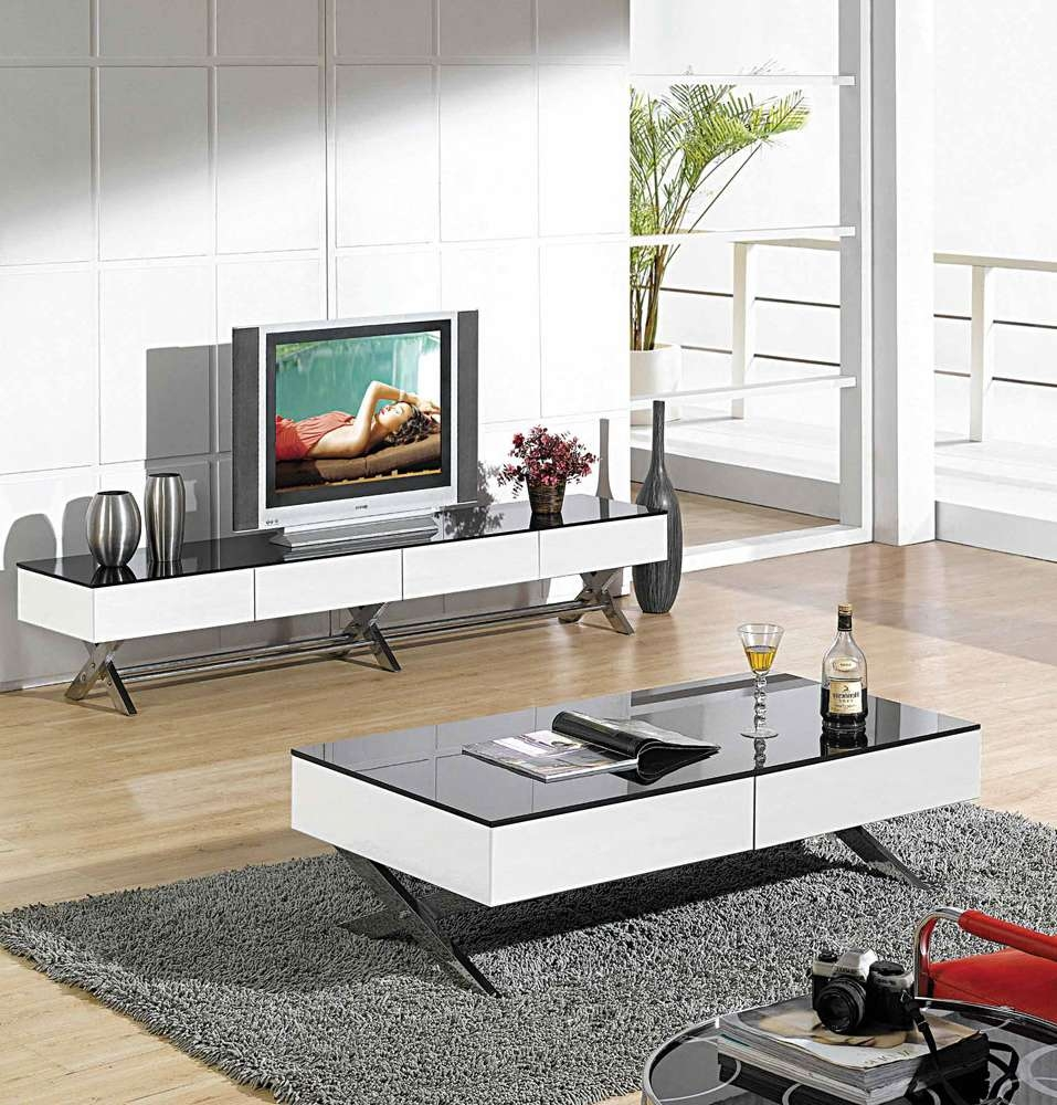 Modern Glossy White Tv Stand Cr059 | Tv Stands Intended For Tv Stands Coffee Table Sets (View 4 of 15)