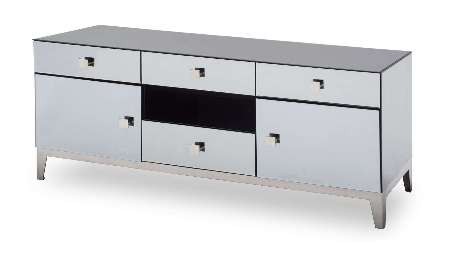 Modern Grey Mirrored Glass Berlin Tv Stand | Zuri Furniture With Mirrored Tv Cabinets (View 7 of 20)