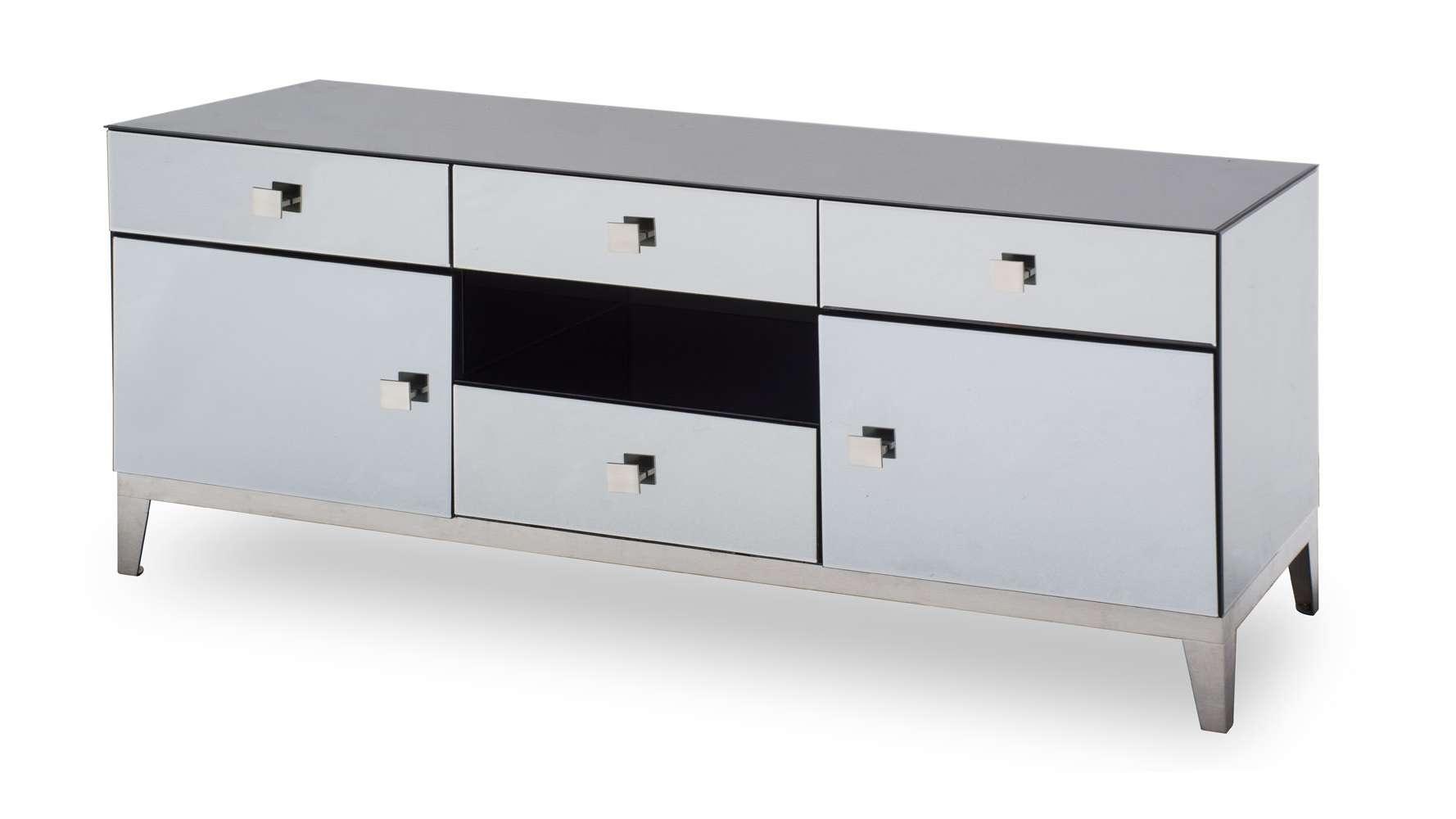Modern Grey Mirrored Glass Berlin Tv Stand | Zuri Furniture Within Mirror Tv Cabinets (View 19 of 20)