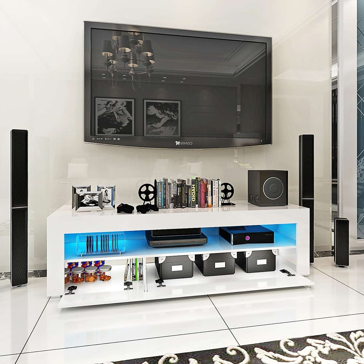 Modern High Gloss Tv Stand Cabinet With Led Sideboard Display Home Within Sideboard Tv Stands (View 7 of 20)