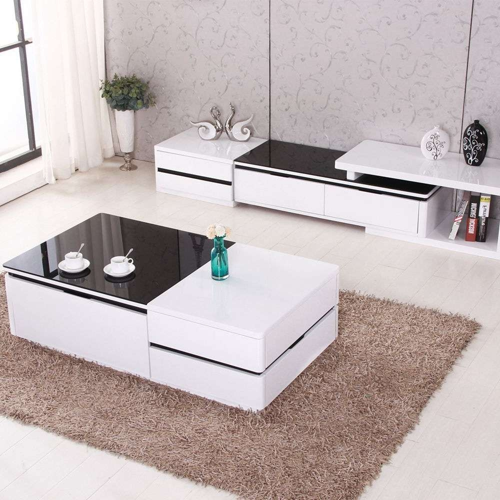 Modern High Gloss White Coffee Table Tv Stand W/ Drawers Glass Top Intended For Coffee Tables And Tv Stands (View 12 of 15)