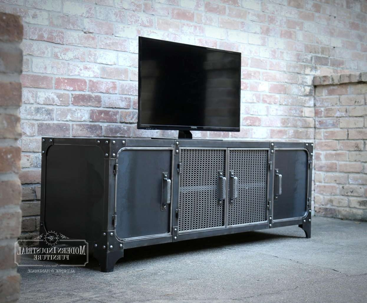 Modern Industrial Media Console Vintage Living Room For Industrial Tv  Cabinets (View 14 Of 20