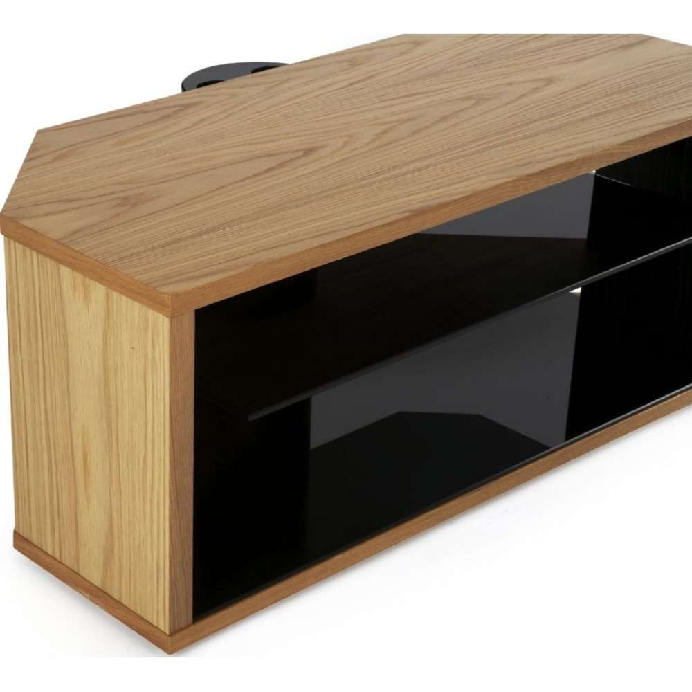 Modern Oak Tv Stand Light Wooden Corner Display Unit In Modern Oak Tv Stands (View 9 of 15)