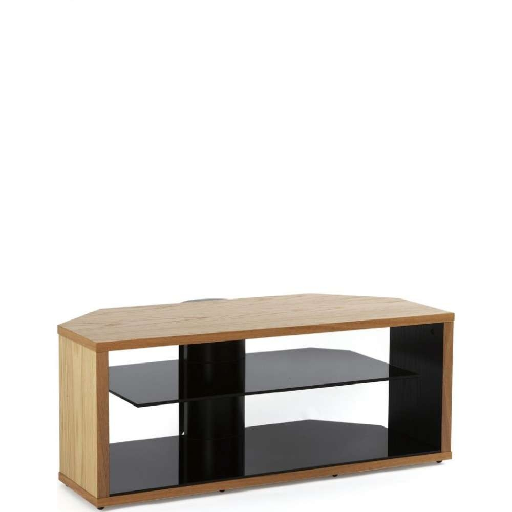 Modern Oak Tv Stand Light Wooden Corner Display Unit Inside Glass And Oak Tv Stands (View 10 of 15)