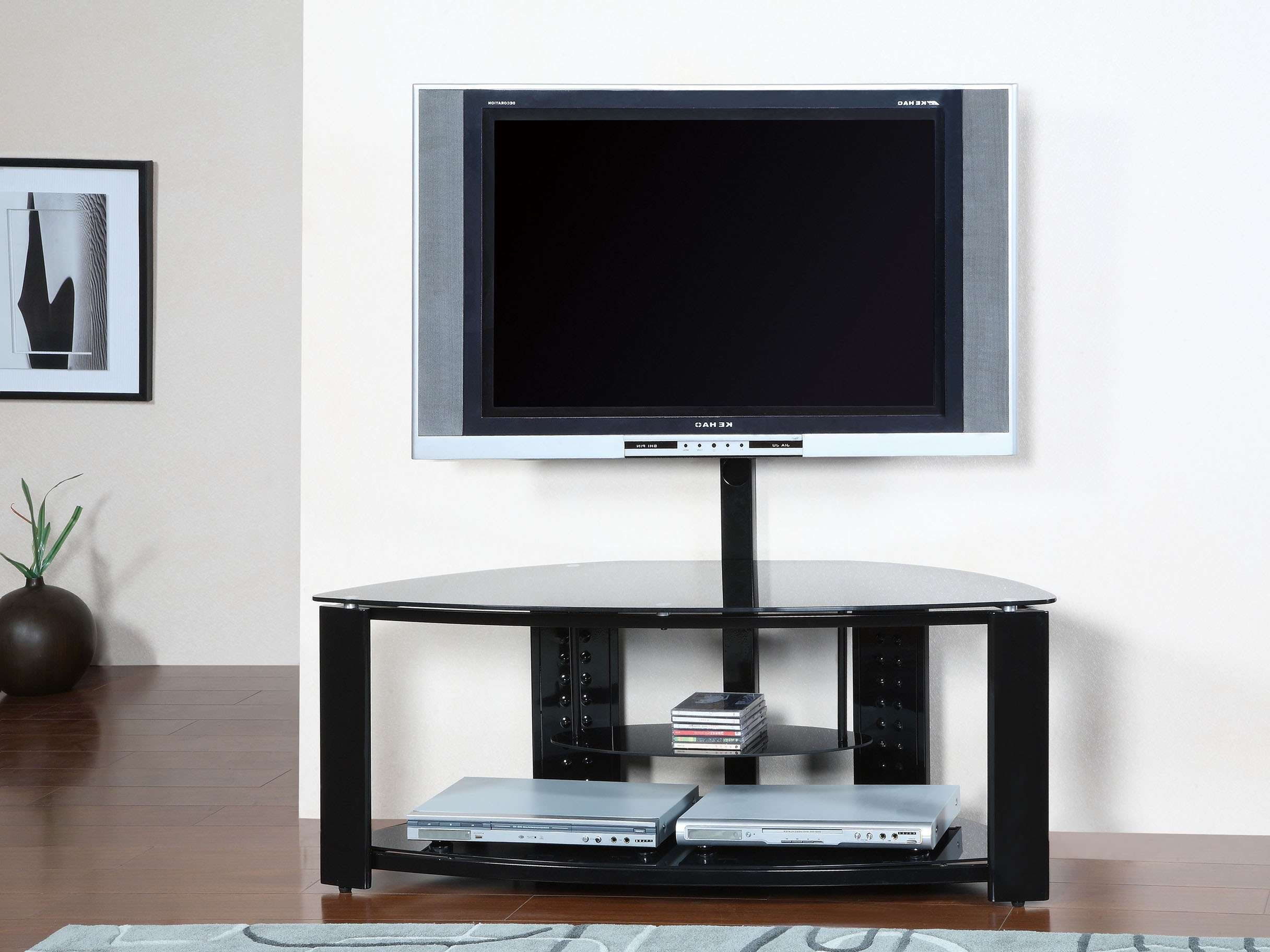 Modern Open Shelf Media Cabinet With Mounted Flat Screen Of Tall Within Open Shelf Tv Stands (View 2 of 15)