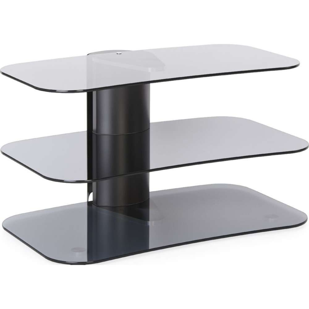 Modern Three Tier Glass Tv Stand Narrow Storage Unit In Smoked Glass Tv Stands (View 3 of 15)