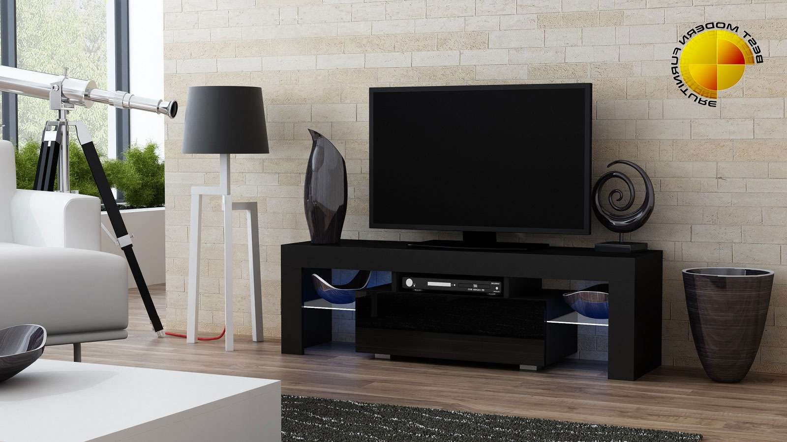 Modern Tv Stand 130Cm High Gloss Cabinet Rgb Led Lights Black Unit In White High Gloss Tv Stands Unit Cabinet (View 8 of 15)