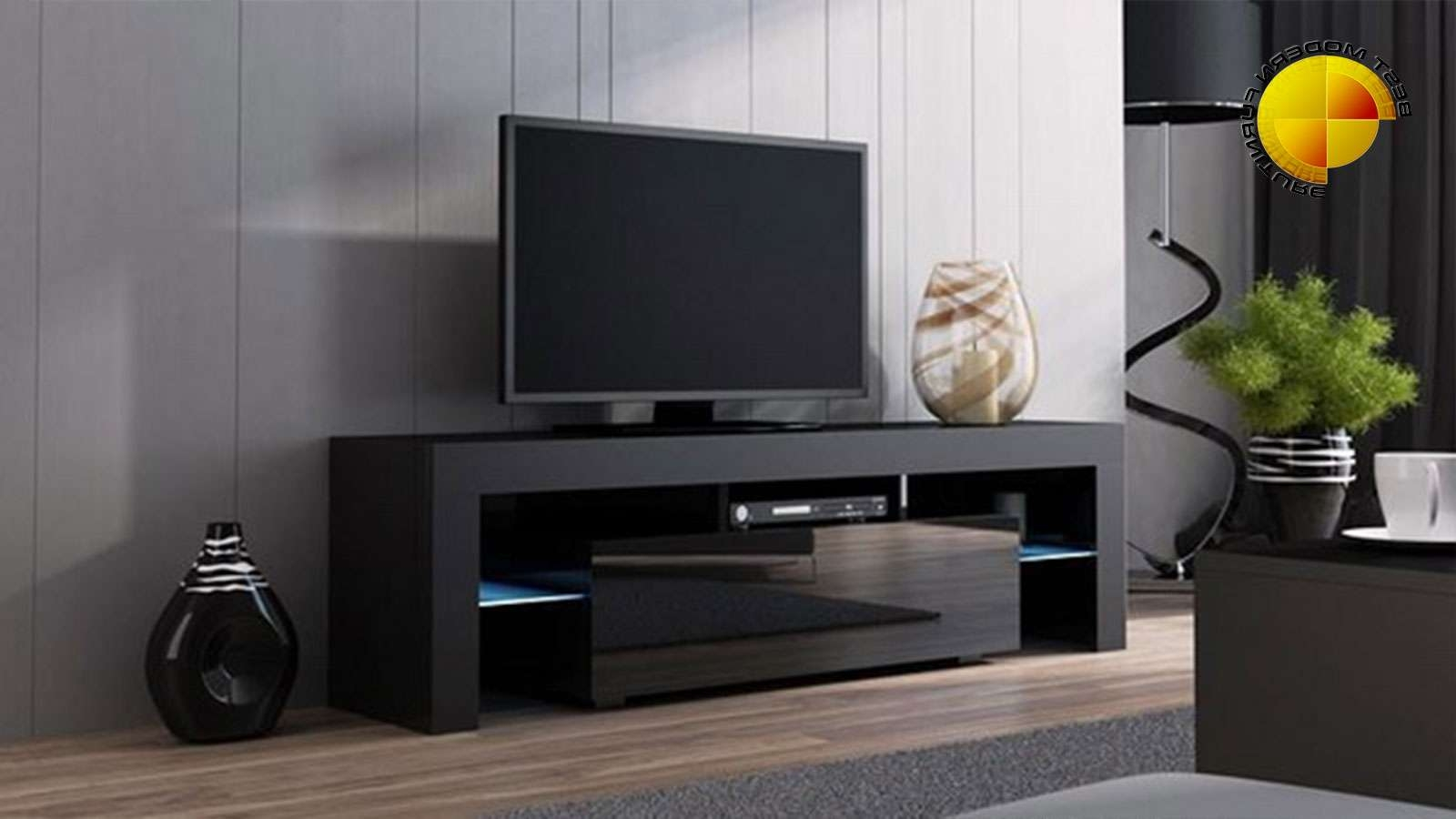 Modern Tv Stand 160cm High Gloss Cabinet Rgb Led Lights Black Unit With Black Modern Tv Stands (View 9 of 15)