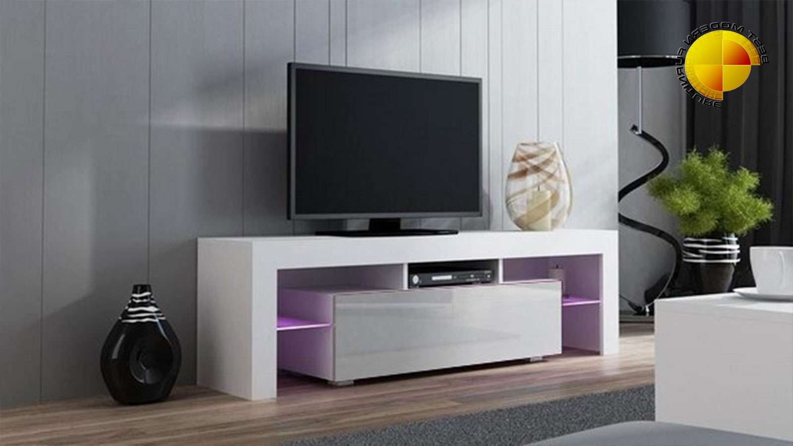 Modern Tv Stand 160cm High Gloss Cabinet Rgb Led Lights White Unit Pertaining To White Gloss Tv Stands (View 10 of 15)