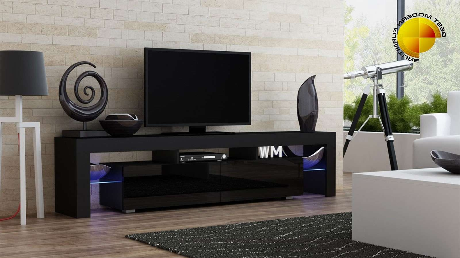 Modern Tv Stand 200Cm High Gloss Cabinet Rgb Led Lights Black Unit In Modern White Gloss Tv Stands (View 11 of 20)