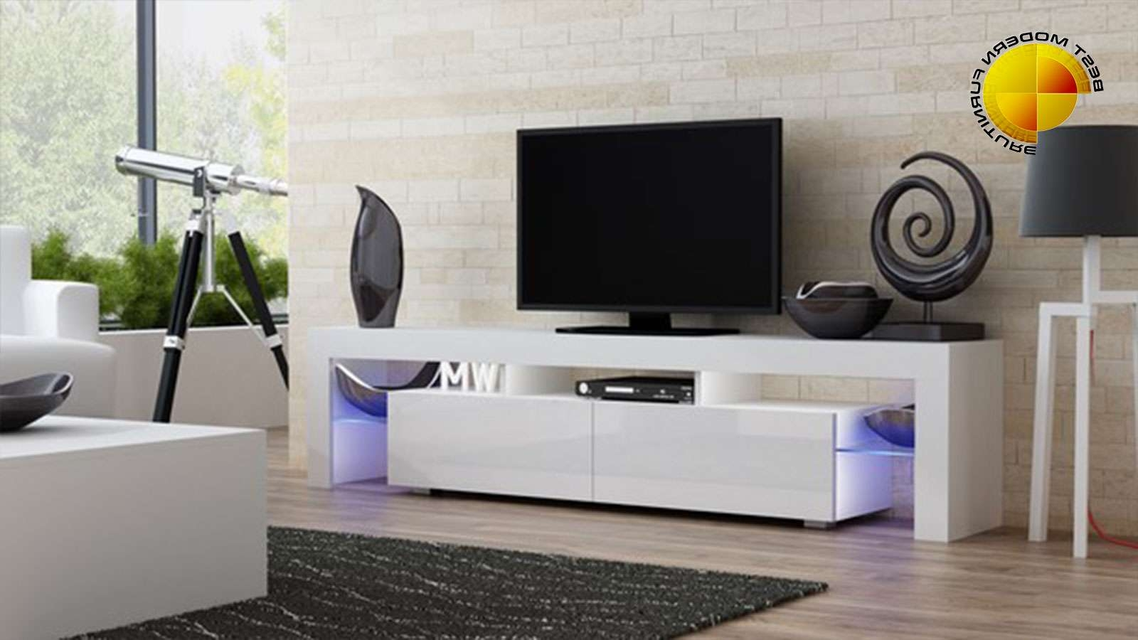 Modern Tv Stand 200Cm High Gloss Cabinet Rgb Led Lights White Unit In Tv Stands With Led Lights (Gallery 15 of 15)