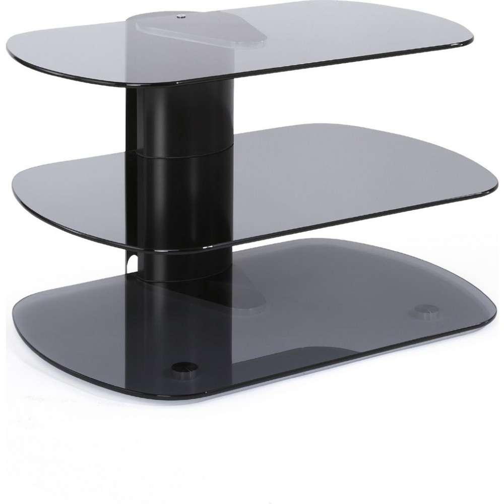 Modern Tv Stand 3 Shelf Glass Platform Display Storage In Grey Corner Tv Stands (View 7 of 15)